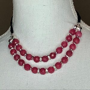 WHBM Doubled Stranded Pink Beaded Necklace